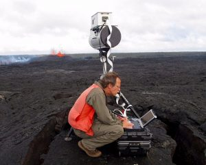 Jeff Sutton, who recently retired from the USGS, measured gas emissions during the March 2011 Kamoamoa fissure eruption on Kilauea's East Rift Zone. Sutton, who served as a gas geochemist at the Hawaiian Volcano Observatory for 24 years, plans to continue working on Hawaiian volcanoes for a while longer as a USGS scientist emeritus.