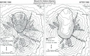 Mt. St. Helens' glacier extent maps before and after May 18, 1980.