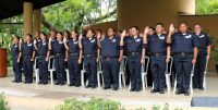 New corrections officers of the Graduates of the 2017 Basic Corrections Recruit Class taking their oath.