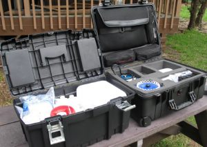 Padded pelican case for transporting equipment and consumable supplies.