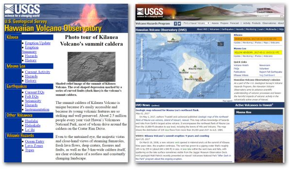 A comparison of the Hawaiian Volcano Observatory homepage in 1998 (left), the year the website was originally launched, and in 2017 (right), following an extensive makeover to make the website more interactive, mobile-friendly, and easier to maintain. Check out HVO's new website at https://volcanoes.usgs.gov/hvo/.