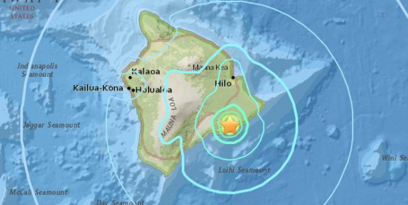 At 7:01 a.m. HST on Thursday, June 8, 2017 a 5.3 magnitude quake struck the south flank of Kilauea. USGS Graphic