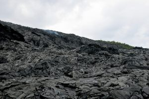 The scattered breakouts that have been active on the steep part of the pali and at the base over the past few weeks were not visible this afternoon. The recent surface breakouts (pictured) were still warm, but no longer actively flowing. Photo taken Friday, June 16, 2017 courtesy of USGS/HVO