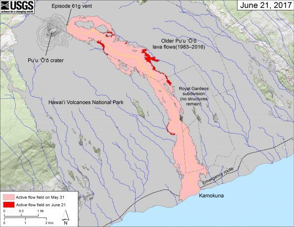 This map shows recent changes to Kīlauea's East Rift Zone lava flow field. The area of the active flow field as of May 31 is shown in pink, while widening and advancement of the active flow as of June 21 is shown in red. Older Pu'u 'Ō'ō lava flows (1983–2016) are shown in gray. The yellow line is the trace of the active lava tube (dashed where uncertain).  The blue lines over the Pu'u 'Ō'ō flow field are steepest-descent paths calculated from a 2013 digital elevation model (DEM), while the blue lines on the rest of the map are steepest-descent paths calculated from a 1983 DEM (for calculation details, see http://pubs.usgs.gov/of/2007/1264/). Steepest-descent path analysis is based on the assumption that the DEM perfectly represents the earth's surface. DEMs, however, are not perfect, so the blue lines on this map can be used to infer only approximate flow paths. The base map is a partly transparent 1:24,000-scale USGS digital topographic map draped over the 1983 10-m digital elevation model (DEM).