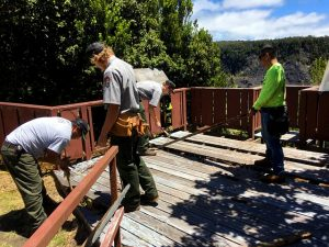Hawai'i Volcanoes National Park facilities maintenance team repairs Pu'u Pua'i Overlook prior to the reopening. Photo courtesy of National Park Service