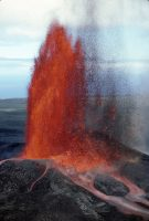This spectacular lava fountain, erupting from Pu'u 'Ō'ō on June 30, 1984, lasted just over 7 hours and reached a height of 318 m (1043 ft). It was one of 44 high lava fountains erupted during the first 3.5 years of Kīlauea Volcano's ongoing East Rift Zone eruption, which began in January 1983. Fallout from the fountains piled up around the vent, building the cinder-and-spatter cone that was named Pu'u 'Ō'ō. The lava fountains, some of which reached heights greater than 457 m (1500 ft), could be seen tens of miles away and their radiant heat could be felt more than a mile from the vent. USGS photo, J.D. Griggs