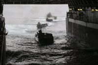 Assault Amphibious Vehicles enter the well deck of USS San Diego (LPD 22) for the start of the 15th Marine Expeditionary Unit's Certification Exercise, May 31, 2017. CERTEX is the final at-sea training period to certify the 15th MEU and America Amphibious Ready Group in preparation for their upcoming deployment. The Marines are with the 15th MEU Battalion Landing Team. (U.S. Marine Corps photo by Cpl. Timothy Valero)
