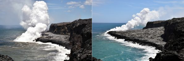 Kīlauea Volcano's Kamokuna ocean entry photographed on May 23, 2017 (left) and July 13, 2017 (right) show how lava flowing from the tube has both widened and thickened the delta. Near the sea cliff, the delta appears to have doubled in thickness over the past seven weeks, creating a distinctly sloped surface from the base of the cliff to the sea. As of mid-July, the Kamokuna lava delta was estimated to be about 1150 feet (350 m) wide and about 6 acres in area. Large cracks on the delta indicate its instability and potential for collapse. USGS photos by L. DeSmither.