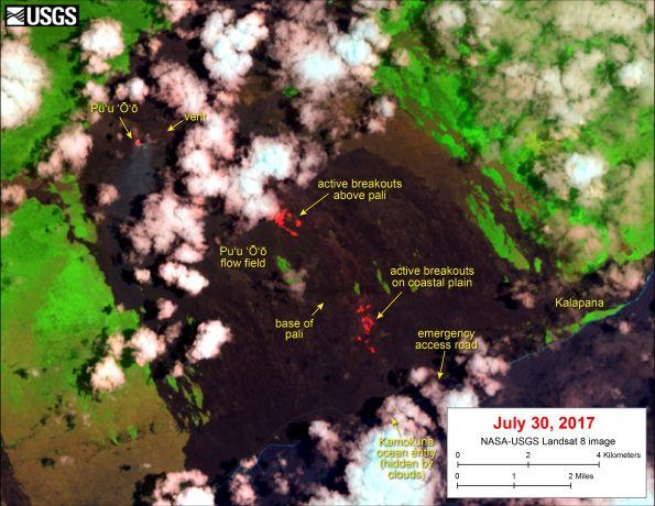 This satellite image was captured on Sunday, July 30, by the NASA/USGS Landsat 8 satellite. Although this is a false-color image, the color map has been chosen to mimic what the human eye would expect to see. Bright red pixels depict areas of very high temperatures and show active lava. White areas are clouds.   The image shows that breakouts continue in several areas on the flow field. An area of scattered breakouts remains active on the coastal plain, about 1.5 km (0.9 miles) upslope of the emergency access gravel road. Breakouts are also active above the pali. A thermal anomaly can also be seen at Pu'u 'Ō'ō, where there is a small lava pond.