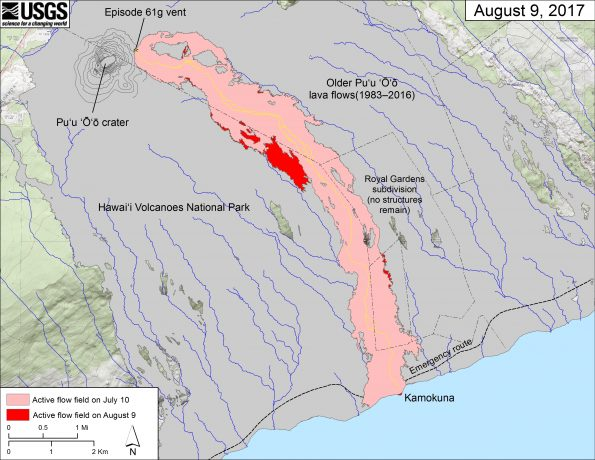 This map shows recent changes to Kīlauea's East Rift Zone lava flow field. The area of the active flow field as of July 10 is shown in pink, while widening and advancement of the active flow as of August 9 is shown in red. Older Pu'u 'Ō'ō lava flows (1983–2016) are shown in gray. The yellow line is the trace of the active lava tube. The blue lines over the Pu'u 'Ō'ō flow field are steepest-descent paths calculated from a 2013 digital elevation model (DEM), while the blue lines on the rest of the map are steepest-descent paths calculated from a 1983 DEM (for calculation details, see http://pubs.usgs.gov/of/2007/1264/). Steepest-descent path analysis is based on the assumption that the DEM perfectly represents the earth's surface. DEMs, however, are not perfect, so the blue lines on this map can be used to infer only approximate flow paths. The base map is a partly transparent 1:24,000-scale USGS digital topographic map draped over the 1983 10-m digital elevation model (DEM).