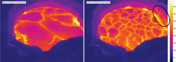 Side-by-side images from the Hawaiian Volcano Observatory's Thermal Web Camera (HTcam) located on the rim of Halemaʻumaʻu before (left) and after (right) lava veneer from the vent wall fell into the lake on July 28, 2017. The collapse scar is circled at right. You can follow the changing lava lake activity, as seen through the eyes of a thermal camera, on HVO's website at https://volcanoes.usgs.gov/vsc/captures/kilauea/htcam.jpg.  USGS images.