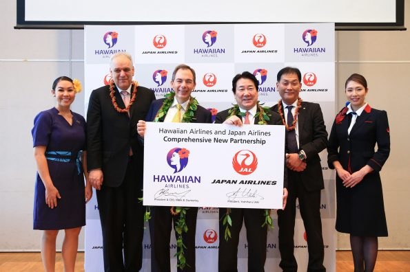 (L-R): Theo Panagiotoulias, senior vice president of global sales and alliances, Hawaiian Airlines; Mark Dunkerley, president and CEO, Hawaiian Airlines; Yoshiharu Ueki, representative director and president, Japan Airlines; and Hideki Oshima, executive officer, Japan Airlines.