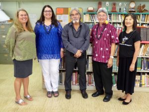 L to R: Rachelle Matsumura, principal of Honoka'a High & Intermediate; Assistant Superintendent Suzanne Mulcahy; Complex Area Superintendent Art Souza; John Gotanda, president of HPU; Carol Mon Lee. Photo courtesy of HPU