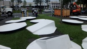 Igloo panels ready for assembly on County Building lawn. Photo courtesy of Hawaii County