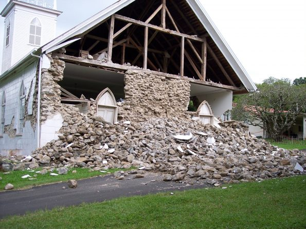Damage to an unreinforced rock wall at Kalāhikiola Church in Kapa'au, North Kohala, on the Island of Hawai'i, following the magnitude-6.6 Kīholo and magnitude-6.0 Māhukona earthquakes in October 2006. USGS photo by J. Takahashi.