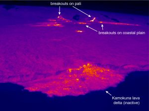 This thermal image shows the lack of active breakouts or lava streams on the Kamokuna lava delta, which has been inactive for several days. Farther upslope, scattered breakouts are active on the coastal plain and pali. Photo taken Wednesday, November 22, 2017 courtesy of USGS/HVO