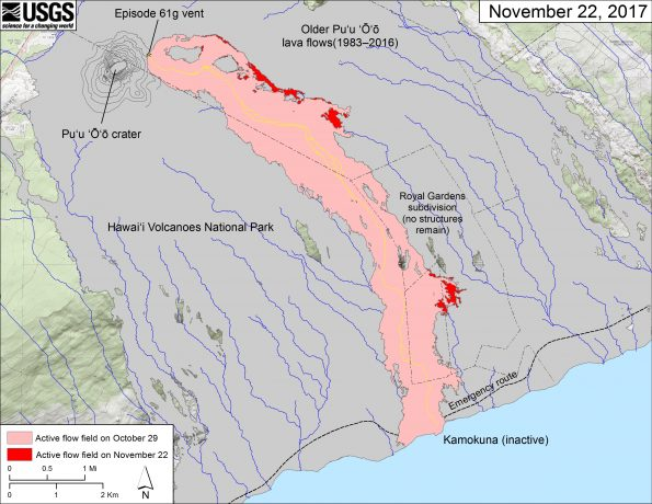 This map shows recent changes to Kīlauea's East Rift Zone lava flow field. The area of the active flow field as of October 29 is shown in pink, while widening and advancement of the active flow as of November 22 is shown in red. Older Pu'u 'Ō'ō lava flows (1983–2016) are shown in gray. The yellow line is the trace of the active lava tube. The Kamokuna ocean entry was inactive today. The blue lines over the Pu'u 'Ō'ō flow field are steepest-descent paths calculated from a 2013 digital elevation model (DEM), while the blue lines on the rest of the map are steepest-descent paths calculated from a 1983 DEM (for calculation details, see http://pubs.usgs.gov/of/2007/1264/). Steepest-descent path analysis is based on the assumption that the DEM perfectly represents the earth's surface. DEMs, however, are not perfect, so the blue lines on this map can be used to infer only approximate flow paths. The base map is a partly transparent 1:24,000-scale USGS digital topographic map draped over the 1983 10-m digital elevation model (DEM).