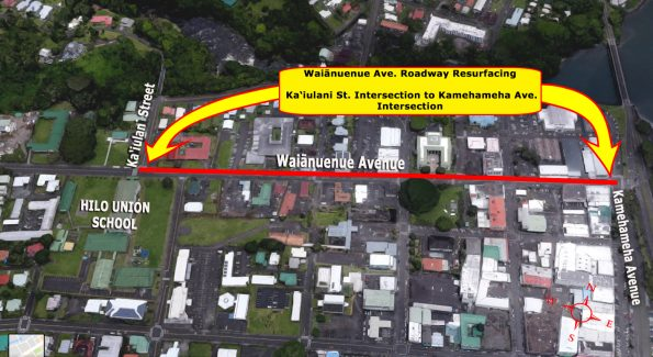 Waianuenue Avenue resurfacing map in November 2017.