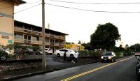 A fire burned a third floor unit at 270 Ululani Street in Hilo Tuesday, December 12, 2017. Photography by Baron Sekiya | Hawaii 24/7