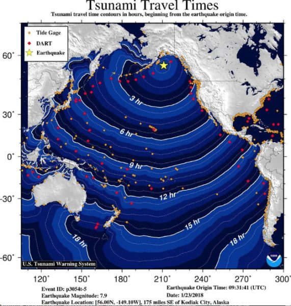 Projected tsunami travel times from the Alaska quake Monday, January 22, 2018.