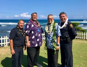 Police Officer Lloyd Ishikawa, Major Randy Apele, Assistant Chief Henry Tavares, and Chief Paul Ferreira.
