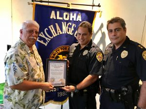 (L-R) Retired Captain James Sanborn, Officer Murray Toledo, AC Mitchell Kanehailua