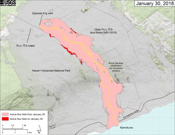 This map shows recent changes to Kīlauea's East Rift Zone lava flow field. The area of the active flow field as of January 05, 2018 is shown in pink, while widening and advancement of the active flow as of January 30, 2018 is shown in red. Older Puʻu ʻŌʻō lava flows (1983–2016) are shown in gray. The yellow line is the trace of the active lava tubes; based on the lack of activity in the lower reaches of the flow field, a portion of the main lava tube leading to the ocean may contain little or no moving lava, but it is still quite hot to the thermal camera. The Kamokuna ocean entry is inactive. The blue lines over the Puʻu ʻŌʻō flow field are steepest-descent paths calculated from a 2013 digital elevation model (DEM), while the blue lines on the rest of the map are steepest-descent paths calculated from a 1983 DEM (for calculation details, see http://pubs.usgs.gov/of/2007/1264/). Steepest-descent path analysis is based on the assumption that the DEM perfectly represents the earth's surface. DEMs, however, are not perfect, so the blue lines on this map can be used to infer only approximate flow paths. The base map is a partly transparent 1:24,000-scale USGS digital topographic map draped over the 1983 10-m digital elevation model (DEM). (see large map) (see large map)