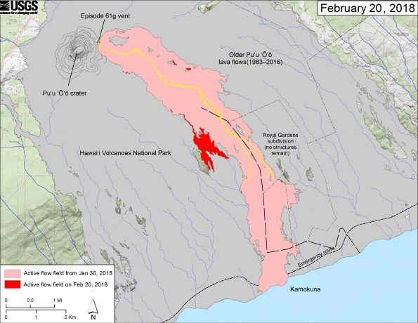 This map shows recent changes to Kīlauea's East Rift Zone lava flow field. The area of the active flow field as of January 30, 2018 is shown in pink, while widening and advancement of the active flow as of February 20, 2018 is shown in red. Older Puʻu ʻŌʻō lava flows (1983–2016) are shown in gray. The yellow line is the trace of the active lava tubes. The Kamokuna ocean entry is inactive. The blue lines over the Puʻu ʻŌʻō flow field are steepest-descent paths calculated from a 2013 digital elevation model (DEM), while the blue lines on the rest of the map are steepest-descent paths calculated from a 1983 DEM (for calculation details, see http://pubs.usgs.gov/of/2007/1264/). Steepest-descent path analysis is based on the assumption that the DEM perfectly represents the earth's surface. DEMs, however, are not perfect, so the blue lines on this map can be used to infer only approximate flow paths. The base map is a partly transparent 1:24,000-scale USGS digital topographic map draped over the 1983 10-m digital elevation model (DEM)