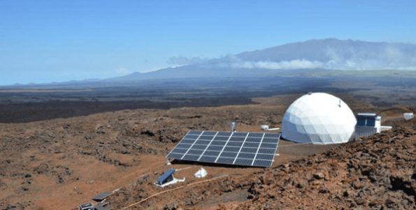 The University of Hawaii at Manoa's Hawaii Space Exploration Analog and Simulation (HI-SEAS) habitat on the slopes of Mauna Loa. Photo courtesy of HI-SEAS