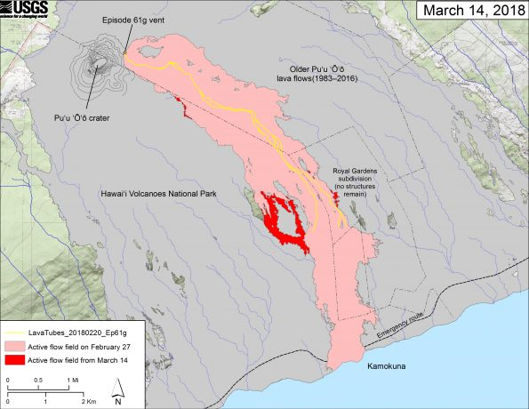 This map shows recent changes to Kīlauea's East Rift Zone lava flow field. The area of the active flow field as of February 27 is shown in pink, while widening and advancement of the active flow as of March 14 is shown in red. Older Puʻu ʻŌʻō lava flows (1983–2016) are shown in gray. The yellow line is the trace of the active lava tubes. The Kamokuna ocean entry is inactive.  The blue lines over the Puʻu ʻŌʻō flow field are steepest-descent paths calculated from a 2013 digital elevation model (DEM), while the blue lines on the rest of the map are steepest-descent paths calculated from a 1983 DEM (for calculation details, see http://pubs.usgs.gov/of/2007/1264/). Steepest-descent path analysis is based on the assumption that the DEM perfectly represents the earth's surface. DEMs, however, are not perfect, so the blue lines on this map can be used to infer only approximate flow paths. The base map is a partly transparent 1:24,000-scale USGS digital topographic map draped over the 1983 10-m digital elevation model (DEM).