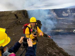 To mark the 10th anniversary of Kīlauea Volcano's summit eruption, HVO geologist Matt Patrick talked about his work monitoring the lava lake this morning in a live video, now posted on the USGS Volcanoes Facebook page (https://www.facebook.com/USGSVolcanoes/). He was also a featured geologist in a Hawai'i Volcanoes National Park live video, now posted on the Park's Facebook page (https://www.facebook.com/hawaiivolcanoesnps/). Photo taken Monday, March 19, 2018 courtesy of U.S. Geological Survey