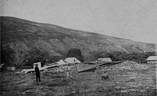 "Destruction caused by the 1868 great Ka'ū earthquake included the Wai'ōhinu church, shown here, in the Ka'ū District of Hawaiʻi Island. With a magnitude estimated at 7.9, the earthquake is the largest in Hawaii's recorded history. Photo by Henry L. Chase, published in ""Volcanoes of Kīlauea and Mauna Loa on the Island of Hawaiʻi"" by W.T. Brigham, Bishop Museum Press, 1909."