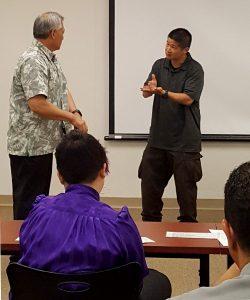 Sign language instruction. Photo courtesy of Department of Public Safety