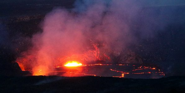 The slowly rising lava lake at Kīlauea's summit was very close to the rim of the Overlook crater, and floor of Halema'uma'u Crater. This afternoon the lava lake was roughly 6 m (20 feet) from the rim. This photo was taken from the Jaggar Museum overlook, which had superb views Saturday (April 21). Photo taken Saturday, April 21, 2018 courtesy of U.S. Geological Survey