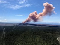 At 10:30 HST, ground shaking from a preliminary magnitude-5.0 earthquake south of Pu'u 'Ō'ō caused rockfalls and possibly additional collapse into the Pu'u 'Ō'ō crater on Kīlauea Volcano's East Rift Zone. A short-lived plume of ash produced by this event lofted skyward and dissipated as it drifted southwest from Pu'u 'Ō'ō. Downwind areas may have experienced a dusting of ash from this plume. At this time, the 10:30 earthquake has caused no other changes at Kīlauea Volcano. HVO will continue to closely watch monitoring data for any changes. This image was captured from an HVO overflight carrying HVO scientists to the East Rift Zone for field work today. USGS photo by Kevan Kamibayashi.