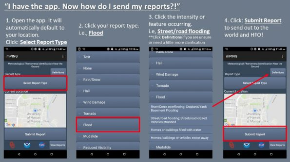 Once you have installed the mPING app you can file a report.