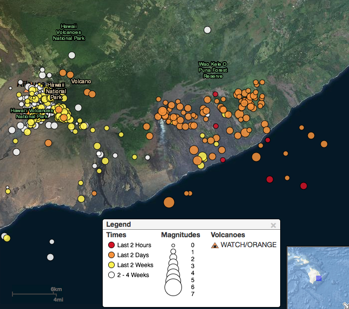 Earthquakes follow eruptions from Hawaii volcano