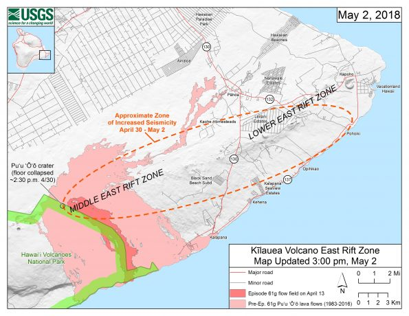 Starting on the afternoon of Monday, April 30, 2018, magma beneath Pu'u 'Ō'ō drained and triggered the collapse of the crater floor. Within hours, earthquakes began migrating east of Pu'u 'Ō'ō, signaling an intrusion of magma along the middle and lower East Rift Zone. As of about noon on Wednesday, May 2, these earthquakes continue along the lower East Rift Zone, with many reports of earthquakes felt by residents in nearby subdivisions. The orange dashed line marks the approximate area within which most of the earthquakes are located based on automatic earthquake locations and analysis by seismologists. All earthquake locations are preliminary. For more details on the hazards associated with this ongoing event, see this link: https://volcanoes.usgs.gov/volcanoes/kilauea/status.html