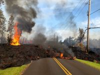 At 07:45 a.m. HST, today, lava from fissure 7 slowly advanced to the northeast on Hookapu Street in Leilani Estates subdivision on Kīlauea Volcano's lower East Rift Zone. A map showing the location of the fissures is posted on HVO's website at https://volcanoes.usgs.gov/volcanoes/kilauea/multimedia_maps.html Photo taken Saturday, May 5, 2018 courtesy of U.S. Geological Survey