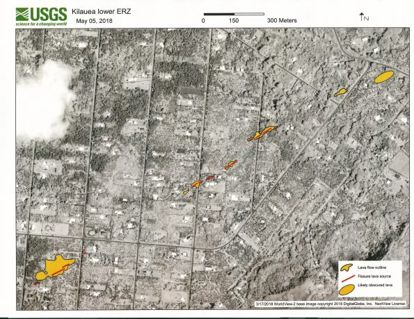 Eruptive fissures and areas covered by lava in the Leilani Estates subdivision, Island of Hawai'i, are denoted on this satellite image acquired on March 17, 2018 (copyrighted image provided by Digital Globe).