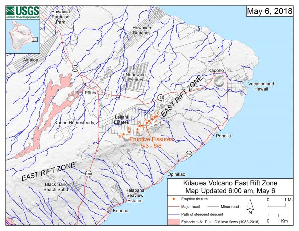 This map shows the locations of eruptive fissures on Kīlauea Volcano's East Rift Zone in the order that they occurred in the Leilani Estates Subdivision as of 6:00 a.m. HST today (May 6). The blue lines are paths of steepest descent that identify likely paths of a lava flow, if and when lava moves downhill from an erupting vent. The paths of steepest-descent were calculated from a 1983 digital elevation model (DEM) of the Island of Hawai'i, created from digitized contours. Steepest-descent path analysis is based on the assumption that the DEM perfectly represents the earth's surface. DEMs, however, are not perfect, so the blue lines on this map can be used to infer only approximate lava-flow paths. The base shaded-relief map was made from the 1983 10-m (DEM). For additional explanation of steepest descent paths, see http://pubs.usgs.gov/of/2007/1264. For calculation details, ESRI shapefiles, and KMZ versions of steepest descent paths, see https://www.sciencebase.gov/catalog/item/57fd072ee4b0824b2d130eb5.