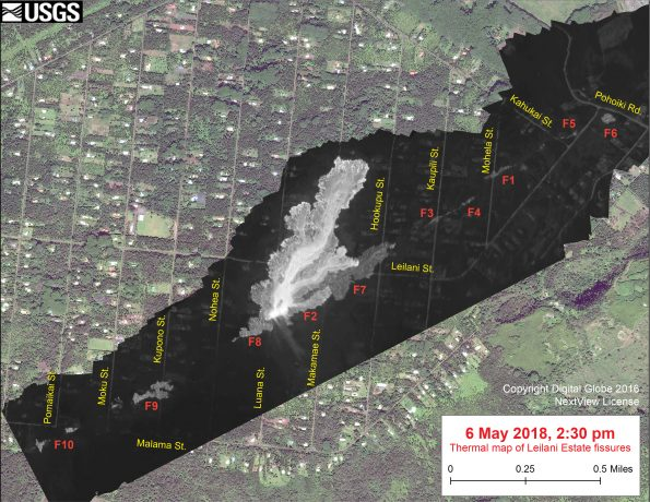 This thermal map clearly shows the 'a'ā flow spreading northward (top) from fissure 8 during an overflight of the area this afternoon. The black and white area is the extent of the thermal map. Temperature in the thermal image is displayed as gray-scale values, with the brightest pixels indicating the hottest areas (whitish areas show the active lava flow). The gray linear features are the other fissures (numbered in red color) that have erupted thus far in the sequence. The thermal map was constructed by stitching many overlapping oblique thermal images collected by a handheld thermal camera during a helicopter overflight of the flow field. The base is a copyrighted color satellite image (used with permission) provided by Digital Globe.