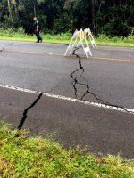 Roadway cracks on Pahoa-Kalapana Road (Route 130). Photo courtesy of HDOT