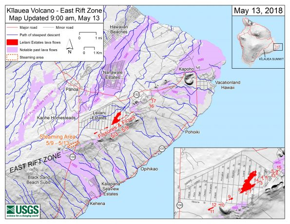 Map as of 9:00 a.m. HST, May 13, shows the location of fissure 17, which opened this morning at approximately 4:30 a.m. HST. NOTE: This new fissure was initially referred to as fissure 18 in early reports, but that is incorrect (what was called fissure 17 yesterday did not erupt lava, so this morning's erupting fissure is actually 17). In addition to fissure 17, the map shows earlier fissures, lava flows, and steaming areas. Inset map (lower right) shows fissures in Leilani Estates in the order they occurred since May 3. Shaded purple areas indicate lava flows erupted in 1840, 1955, 1960, and 2014-2015.