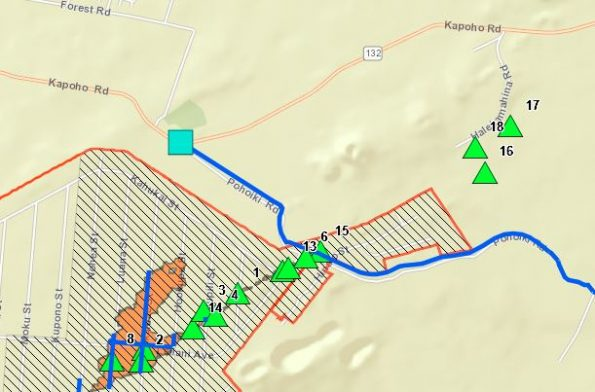Hawaii County Civil Defense lava map as of 11:13 p.m. Sunday (May 13).