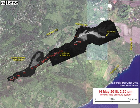 This thermal map shows the fissure system during an overflight of the area this afternoon (the western part of the thermal map, in Leilani Estates, was based on a May 9 overflight, and fissure activity in that region has not changed since that time). Fissure 17 was producing a lava flow extending about 1.7 km (1.1 miles) from the fissure. The black and white area is the extent of the thermal map. Temperature in the thermal image is displayed as gray-scale values, with the brightest pixels indicating the hottest areas. The thermal map was constructed by stitching many overlapping oblique thermal images collected by a handheld thermal camera during a helicopter overflight of the flow field. The base is a copyrighted color satellite image (used with permission) provided by Digital Globe.