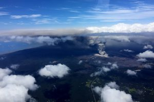 At 11:43 HST, Civil Air Patrol flight CAP20 reported plume tops at 9,500' with the dispersed plume up to 11,000'. The CAP mission was launched from Hilo in support of Hawai'i County Civil Defense and USGS Hawaiian Volcano Observatory response to the ongoing eruption. Ashfall from this plume has been reported falling on communities downwind. Photo courtesy of Civil Air Patrol