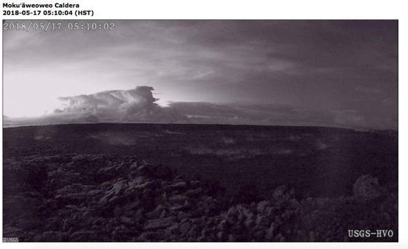 View of this morning's eruption plume from the Overlook crater nearly an hour after the event started. This image is from the webcam located on the north rim of Moku'āweoweo Caldera near the summit of Mauna Loa Volcano. This image was recorded at 5:10 a.m. HST. At about 04:15 a.m. HST, an explosion from the Overlook crater at Kīlauea Volcano's summit produced an eruption column that reached at least 30,000 ft. above sea level. The plume was blown by wind toward the northeast. This resulted in ash fall at the Hawaiian Volcano Observatory, and nearby Volcano Village and the Volcano Golf and Country Club Subdivsion. Webcam image taken Thursday, May 17, 2018 courtesy of U.S. Geological Survey
