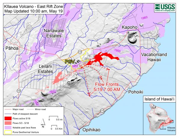 Map as of 10:00 am HST, May 19. Shaded purple areas indicate lava flows erupted in 1840, 1955, 1960, and 2014-2015.