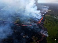 Channelized lava flows originate from a merged elongated fountaining source between fissures 16 and 20 in Kīlauea Volcano's lower East Rift Zone. Photo taken Saturday, May 19, 2018 courtesy of U.S. Geological Survey